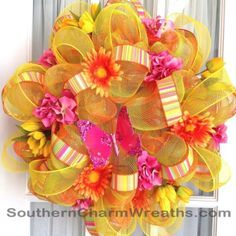 how to make a spring floral wreath centerpiece with organza - Google Search