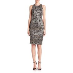 Carmen Marc Valvo Metallic Lace Sheath Dress (2,135 PEN) ❤ liked on Polyvore featuring dresses, apparel & accessories, pewter, sleeveless lace dress, lacy dress, slim fit dress, line dress and metallic dress