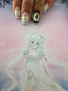 Nails by Tenshi: Act 9: Serenity Princess #SailorMoon #NailArt