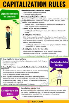 Capitalization rules can be difficult to understand, and they change depending on whether a word is in a sentence or in a title. Thankfully, there are style gui Grammar Help, Teaching English Grammar, Grammar And Punctuation, Grammar Lessons, Writing Lessons, English Vocabulary, Grammar Rules, Writing Tips, Teaching Spanish