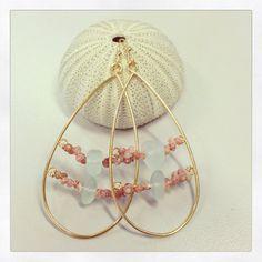 Large tear drop earrings with Kahelelani shells by aHonuExperience