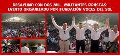 Juan Manuel del Castillo, Tomas López, Juan del Bosque y Héctor Yunes en desayuno con dos mil militantes Priístas