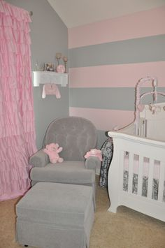 Like the stripes along with grey walls Project Nursery - Gray and Pink Striped Wall Glider