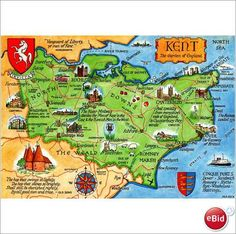 Map of Kent county, South East region of England, UK - the garden of England