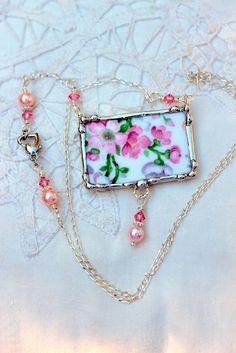 Broken China Jewelry Chintz China Necklace by Robinsnestcreation1, $46.95