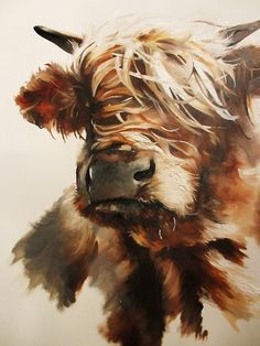 Miniature Breeds Of Cattle That Are Perfect For Small Farms Highland Cow Painting, Highland Cow Art, Highland Cattle, Cute Cows, Tier Fotos, Art For Art Sake, Watercolor Animals, Painting Patterns, Art Pictures