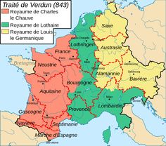 Charlemagne and the Carolingian Empire--- Map of the Treaty of Verdun in It was the division of the Frankish Empire among Louis's heirs into three portions that would lead to future political divisions in Europe. French History, European History, World History Map, Toulouse, Rome Antique, Geography Map, Carolingian, Empire Romain, France Map
