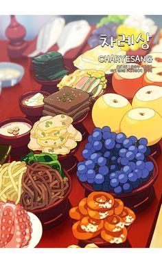 K Food, Food Menu, Korean Dishes, Korean Food, Cute Food Art, Cute Food Drawings, Food Sketch, Food Cartoon, Food Wallpaper