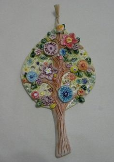 Dear friends, I would like to offer you one of my inspirations named The tree of my dreams. It will impress you with its shiny colors, positive Ceramic Wall Art, Ceramic Clay, Ceramics Projects, Clay Projects, Pottery Designs, Pottery Art, Sculpture Painting, Clay Figurine, Clay Creations