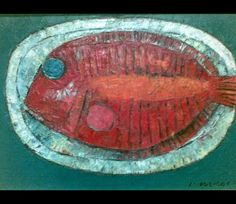 "ang kiukok paintings | Still Life with Fish"" 9"" x 12"" Oil on Canvas 1990"