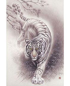 Japanese Bamboo Tattoos | White Tiger - Japanese Design 2016 Very Small Piece Jigsaw Puzzle