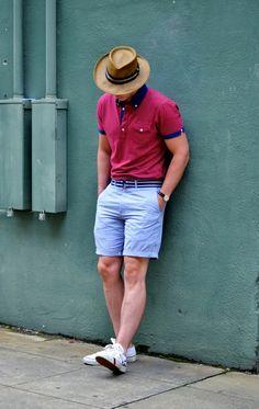 look: pink polo + light blue shorts | #streetstyle #menswear