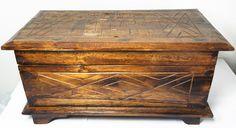 Drewniany Stylowy Zdobiony KUFER Skrzynia