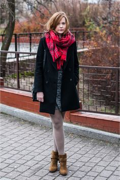 red H&M scarf - bronze Zara boots - heather gray Vila dress - black Zara coat