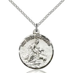 Sterling Silver Good Shepherd Pendant 7/8 x 3/4 inches with Sterling Silver Lite Curb Chain * For more information, visit image link. (This is an affiliate link and I receive a commission for the sales)