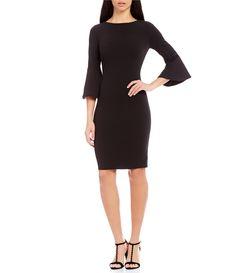 Calvin Klein Bell-Sleeve Sheath Dress #Dillards
