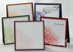 Embossed in white and sponged with ink cards