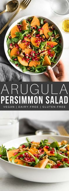 A delicious Fall-inspired arugula persimmon salad with all the delicious and colorful parts of the season combined into one tasty salad. Refreshing, easy, and full of flavor! Salad Dressing Recipes, Easy Salads, Healthy Salad Recipes, Lunch Recipes, Vegetarian Recipes, Healthy Eats, Pasta Salad, Tuna Pasta, Shrimp Salad