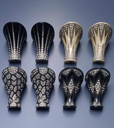 """These Art Deco """"jeweled heels"""" are samples from a time when heels were custom-ordered, 1925."""