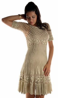 Hooked on crochet - design inspiration - i like how you can clearly see the increases from the waist to the skirt of the dress