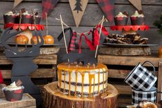 Naked Chocolate Cake with Caramel Drizzle, Camping Party Cake Topper, buffalo plaid cake bunting Winter Birthday Parties, Birthday Party Desserts, Birthday Cake, Birthday Ideas, Lumberjack Cake, Lumberjack Birthday Party, Camping Theme Cakes, Kids Party Themes, Party Ideas
