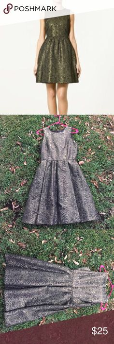 Zara Shimmer Dress Aboauluty beautiful and elegant. Front is pleated below the waist and zips in the back. Black background with a shimmery zig zag of gold. Fully lined in black. And hits around the lower thigh. Zara Dresses Mini