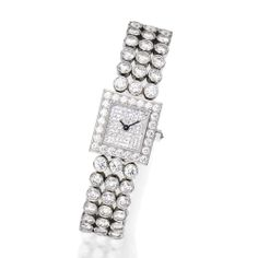 PLATINUM AND DIAMOND WRISTWATCH, HARRY WINSTON The diamond-set square-shaped dial completed by a bracelet composed of circular links, set with round and single-cut diamonds weighing approximately 17.00 carats, quartz movement, internal circumference 6¼ inches, bracelet and case signed Harry Winston,