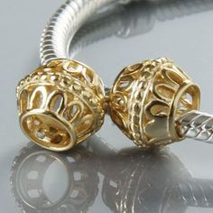 Everbling Golden Guilded Cage Charm Authentic Sterling Silver Bead   Jewelry Mall