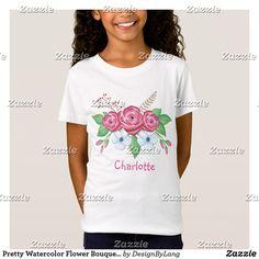 Pretty Watercolor Flower Bouquet Custom Name T-Shirt