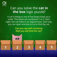 This one took us a while. Check out the answer on Curiosity.com and in the Curiosity app! #catintheboxpuzzle #puzzle #brainteaser #logicpuzzle #logic #curiosity Logic Puzzles, Brain Teasers, Curiosity, App, Check, Instagram, Brain Games, Apps