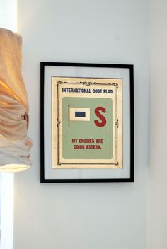 Life Aquatic - Letter S - My engines are going astern - Vintage Code Flag -  Buy 3 get the 4th free. $20.00, via Etsy.