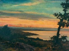 """Sunset from the Cliff, Ogunquit,"" Howard Russell Butler, oil on board, 16 x 21"",Art Students League of New York."