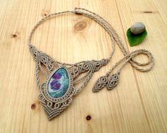Ruby zoisite macrame necklace macrame jewelry hippie