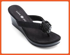 Lindsay Phillips Nicole Black Patent Size 7 Switchflops Women's Wedge - Sandals for women (*Amazon Partner-Link)
