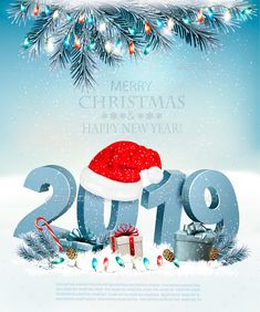 Buy Holiday Christmas Background With Gift Boxes by almoond on GraphicRiver. Holiday Christmas background with Santa Hat and a gift boxes. Vector Fully editable, vector objects separated and gro. Happy New Year Cards, Happy New Year Wishes, Happy New Year 2019, Merry Christmas And Happy New Year, Christmas Holidays, Xmas, Merry Christmas Background, Cute Notebooks, Presents