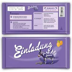 Einladungskarten+als+lila+Schokolade+Geburtstag++von+Kartenmachen.de+auf+DaWanda.com