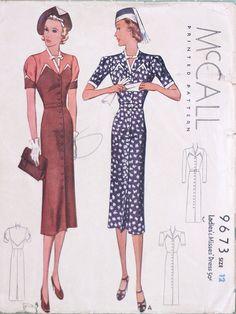 années 1930 McCall Pattern 9673, buste de 30 pouces, Copyright 1938