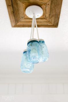 Mason Jar Light Fixture, by TIDBITS