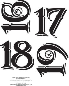 Vintage Table Numbers Template Letter  Number StencilTemplates