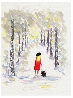 Scottish Terrier Dog Winter Walk , printed on Fine quality paper, 300gsm.  Printed with UltraChrome K3 pigment ink.  8 X 6 Inches  Initialed on the