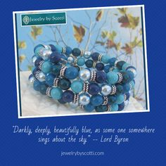 """This gorgeous blue multistrand pearl coil bracelet is made with Swarovski elements in a color combination called """"Lose the Blues Designer Blend."""" The glass pearls are stunning shades of crystal turquoise, crystal dark lapis, crystal light blue, and dark teal. Follow Jewelry by Scotti on Pinterest to be the first to see new products & sales. Shop now: www.jewelrybyscotti.com #handmade #jewelry #OOAK #fashion #gifts"""