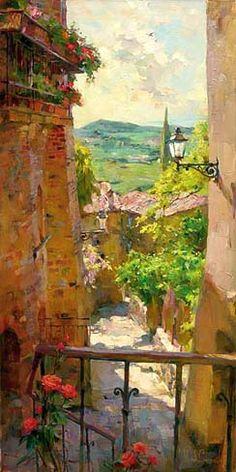 """Heart of the Village"". A Michael & Inessa Garmash painting. Landscape Art, Landscape Paintings, Art Paintings, Pintura Exterior, Wow Art, Fine Art, Beautiful Paintings, Monuments, Painting Inspiration"