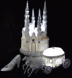 LIGHTED CINDERELLA CASTLE 3 PIECE WEDDING CAKE TOPPER