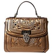 Shirley Top Handle Bag In Perforated Leather Bronze