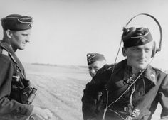 Officers of the 35th Tank Regiment (Panzer-Regiment 35) 4th Panzer division (4.Panzer-Division) in June 1942. From left to right: the platoon commander of the 1st company, Lieutenant...