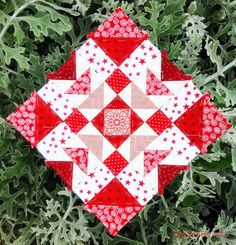 Red and white quilt block