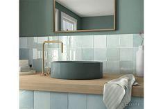 A sky blue square tile with a handmade effect Glazed Ceramic Tile, Ceramic Wall Tiles, Square Sink, Decorative Tile, Kitchen Tiles, Bathroom Fixtures, Bathroom Interior, Artisan, Indoor