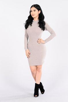 - Available in Mocha and Charcoal - Mini Dress - Ribbed Detail - Long Sleeve - Made in USA - 82% Polyester 13% Rayon 5% Spandex