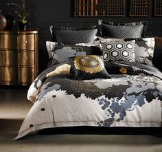 Yuko Black ALEX PERRY  Yuko is an artfully layered design, inspired by the antique Japanese kimono.  Features: Cotton jacquard Printed Bronze-gold embroidery Jacquard pattern printed reverse - #quiltcovers