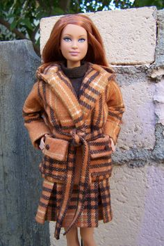"""OOAK """"Cinnamon Curry""""  dress and jacket for model muse Barbie. $30.00, via Etsy."""